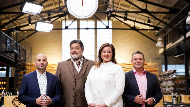 MasterChef judges George Calombaris, Matt Preston and Gary Mehigan with Elena Duggan.
