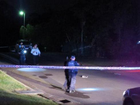 Investigators on-scene of the alleged carjacking last night.