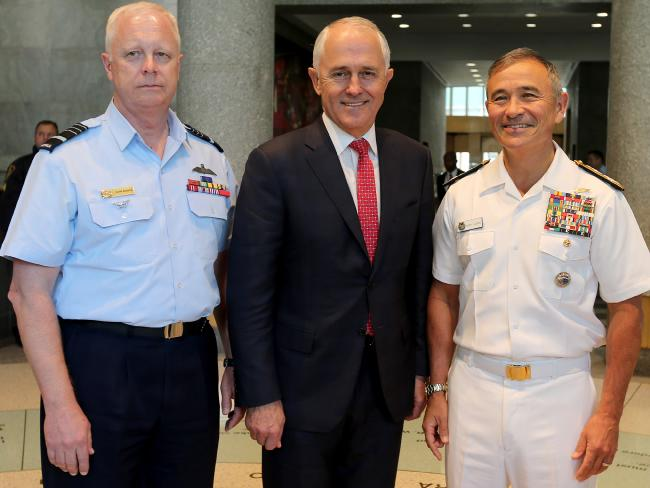 Prime Minister Malcolm Turnbull meets with Admiral Harry Harris and Air Chief Marshal Mark Binskin in New York.