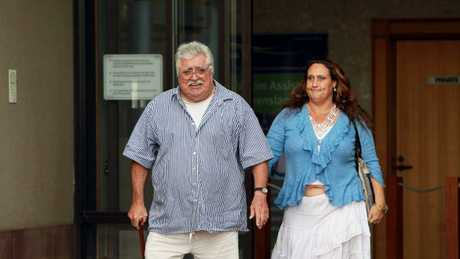 Patton and daughter Karina Eidson leave court in 2011.