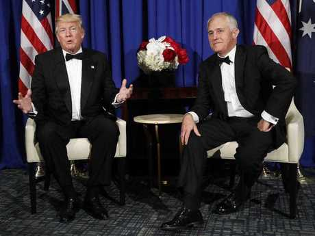 President Donald Trump meets with Australian Prime Minister Malcolm Turnbull aboard the USS Intrepid, a decommissioned aircraft carrier docked in the Hudson River in New York, Thursday, May 4, 2017.