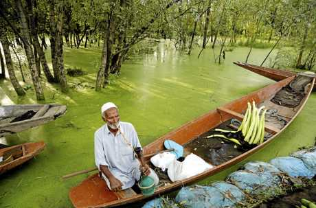 A Kashmiri vegetable vendor smokes a hookah, or a hubble bubble, on his boat as he waits for customers in Srinagar.