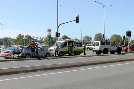 The crash at the intersection of the Bruce Highway and Mackay-Bucasia Road looked fairly dramatic, but all drivers and passengers escaped injury.