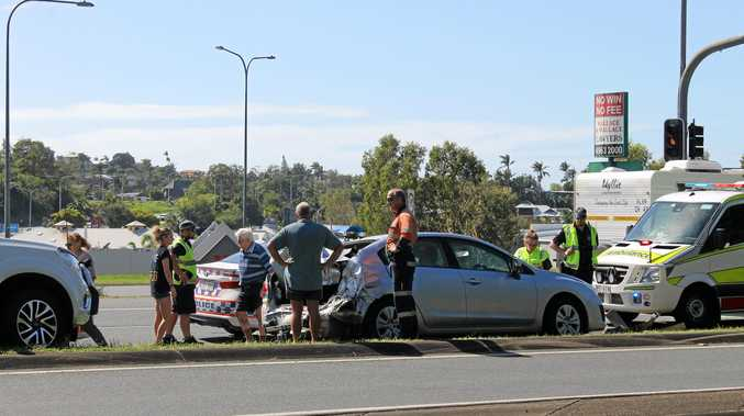 The scene of the crash at the intersection of the Bruce Highway and Mackay-Bucasia Road.