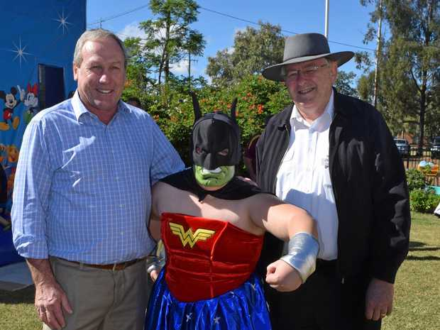 WINNER: WDRC Mayor Paul McVeigh (left), costume winner Claire Harth, and Anglican Church Reverend Tom Bower at Saturday's Monster Market Day.