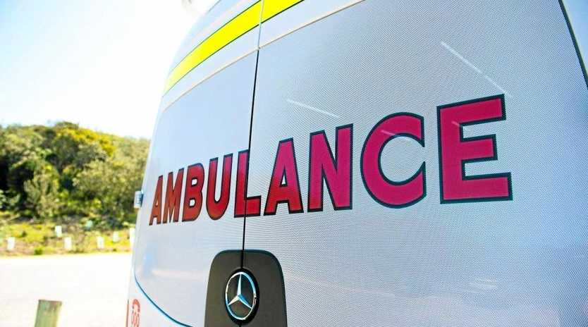 Ambulance crews attended a Red Hill Rd address this afternoon after a man fell from a ladder.