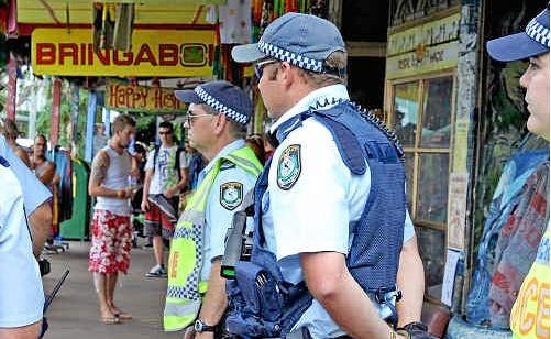File photo of police patrolling Nimbin for the annual MardiGrass festival.