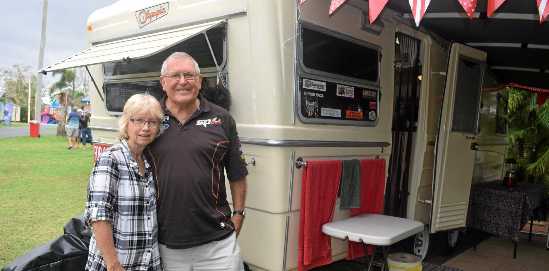 PRIDE AND JOY: Violet and Steven Kirk stand outside their 1978 Olympic Stardust caravan.