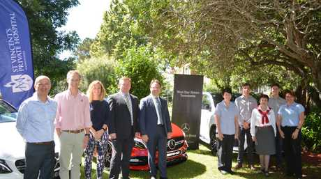 GOLF TEE OFF: Launching the St Vincent's Private Hospital Toowoomba and West Star Motors Golf day for 2016 are (from left) John Pikramenos (Kehoe Meyers), Nathan Harmsworth (Struxi Design), Lauren Crampton, Peter Hickmott and Ted Edwards (West Star Motors), Cathy Krause (St Vincent's Hospital Special Care Nursery), Richard Wilke, Trish Vaz and Geordi Pohlman (LJ Hooker) and Paula McDonald (St Vincent's Hospital Acting Director of Clinical Services).