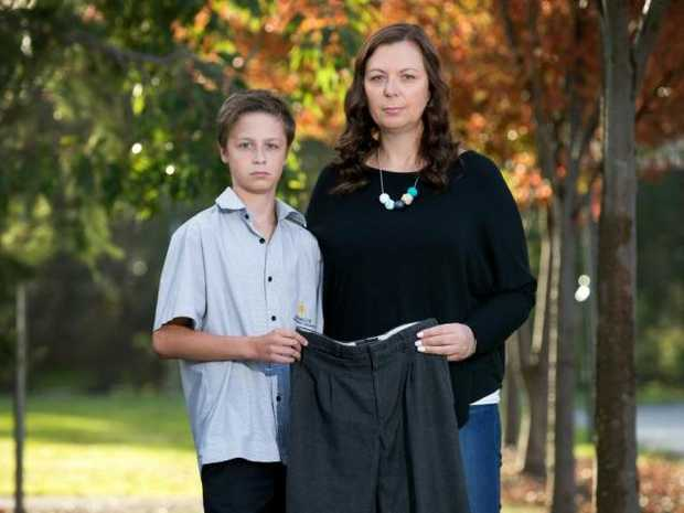 Ange Connolly has started a change.org petition, arguing for her boys to have a choice about wearing shorts or pants. Picture: Sarah Matray
