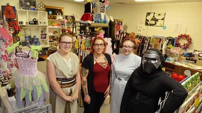 OUTFITTED: Bryana Van Twest, Jasmine Van Twest, Nicole Elliott and Lily-Rose Larsen amid the fantasy wonder of Pop Them Tags Thrift Shop.