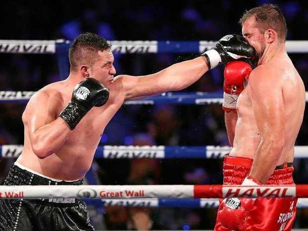 Joseph Parker lands a jab on Razvan Cojanu. Source: Getty Images