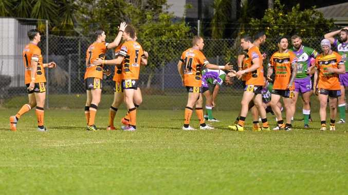 Wests Tigers celebrate their win against the Whitsunday Brahmans in front of their home crowd on Saturday night.