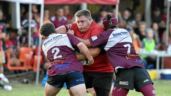 Wollongbar-Alstonville front-rower Matt Wright on the charge against Casino in Far North Coast Rugby Union at the weekend.