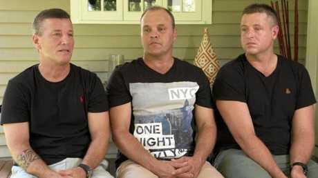 The mates who saved him Glenn Dickson after he was attacked by a shark -Rick Bettua, Peter Kosica and Aaron Butler.