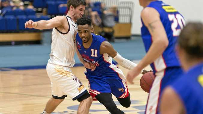 Jalil Abdul-Bassit for Toowoomba Mountaineers against Logan in the QBL pre-season.