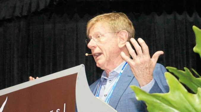 TALKING POINT: Kerry O'Brien takes the stage at Ballina RSL for the Rotary Annual Conference.