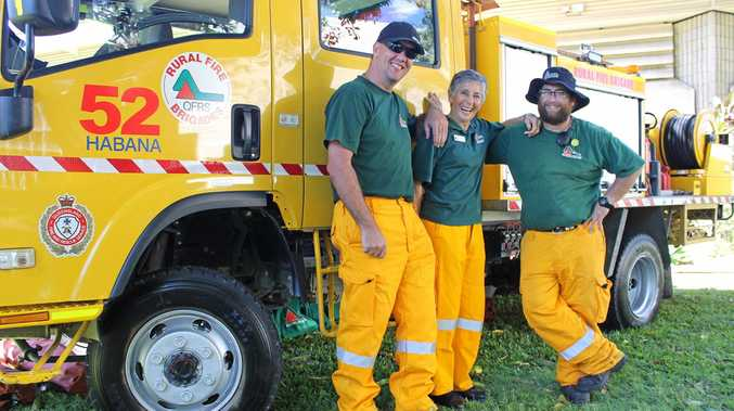 Rural Fire Service Habana firefighters and volunteers Justin Roberts, Maxine Godley and Peter Attard.