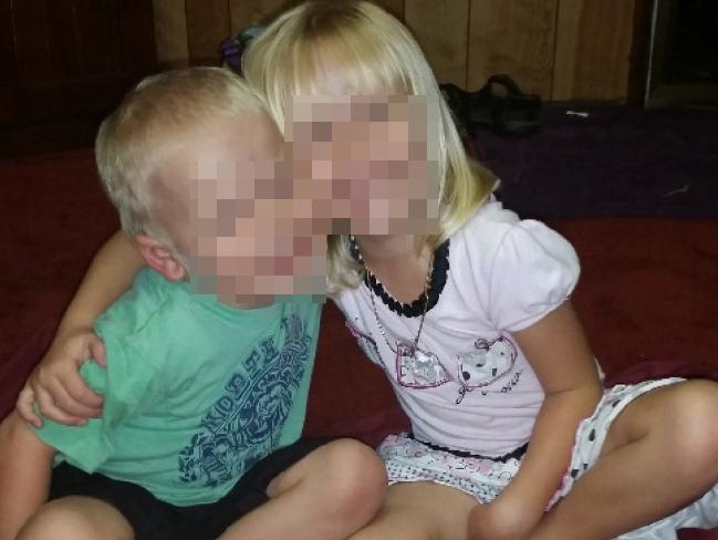 Marlene Locke is raising money to change the names of her two young children (above) so they will no longer have the surname of their murderer father.