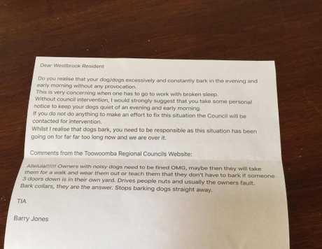 The letter sent to Raelene Wilks by Barry Jones of Westbrook.