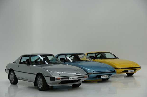 Japanese car enthusiasts will have the opportunity to purchase this series of early Mazda RX-7 rotary-engined coupes at Shannons Autumn Classic Auction in Melbourne on Monday (May 8).