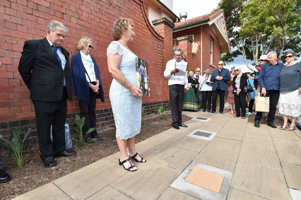 Maryborough Walk of Achievers - Marg Jarvis about to unveil her son, Nathan Flick's plaque.