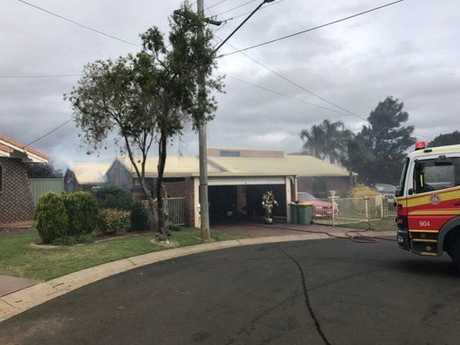 The structure fire at Bimbadeen Ct, Wilsonton Heights.