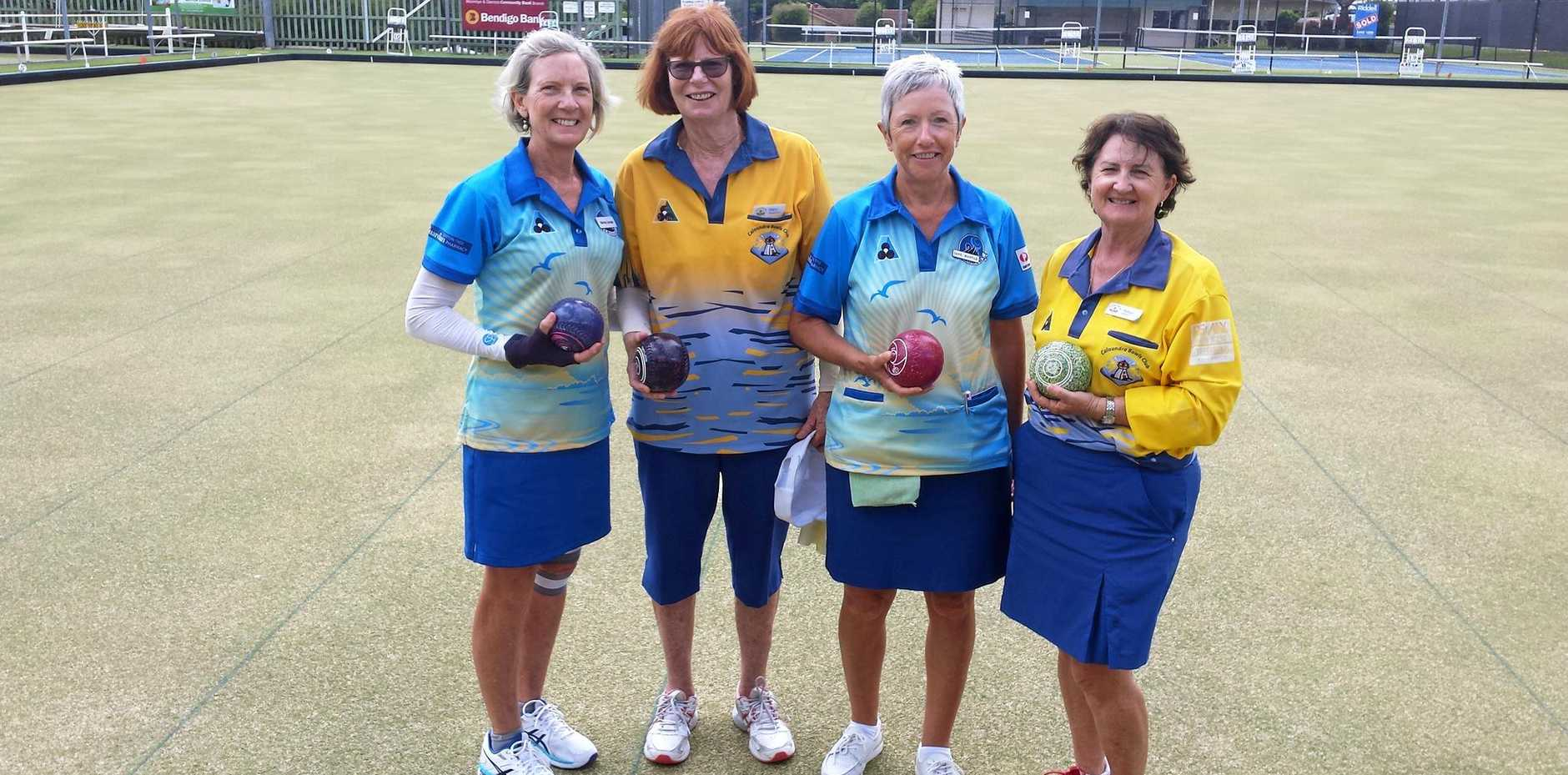 HAPPY BOWLERS: Shirley, Mary, Jane and Robyn at Woombye Bowls Club for the Sunshine Coast Bowls Championships.