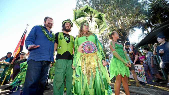 Journalist, media personality, and novelist Derryn Hinch poses with the Ganja Faerie queen at MardiGrass in Nimbin.