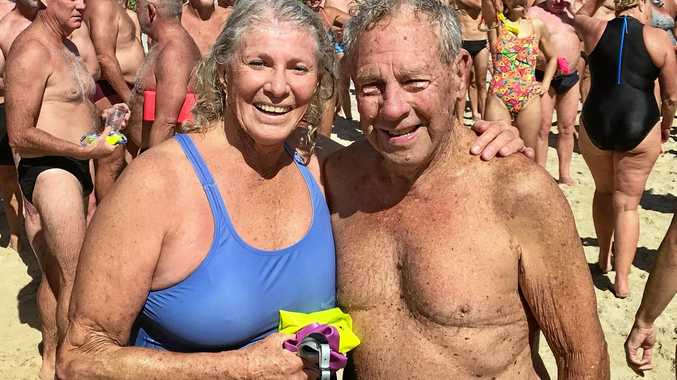 EXPERIENCE COUNTS: Clive Condie (86) from Mullumbimby and Berenice Lancaster (75) from Byron Bay were the most experienced swimmers in this year's Byron Bay Property Sales Ocean Swim Classic.