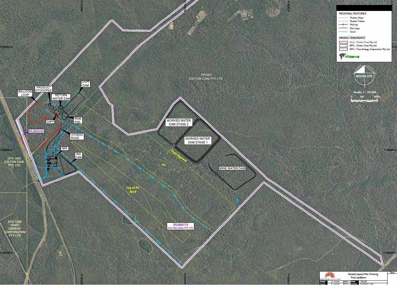 The Major Infrastructure General Layout of the proposed Colton coal mine.