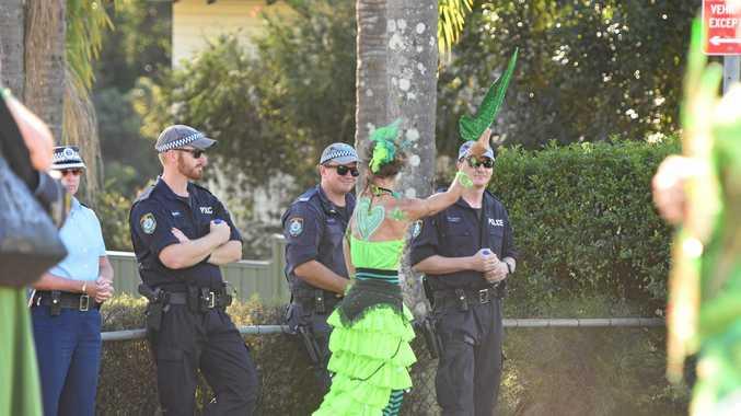 ON WATCH: Police kept a watchful eye on MardiGrass in Nimbin at the weekend.