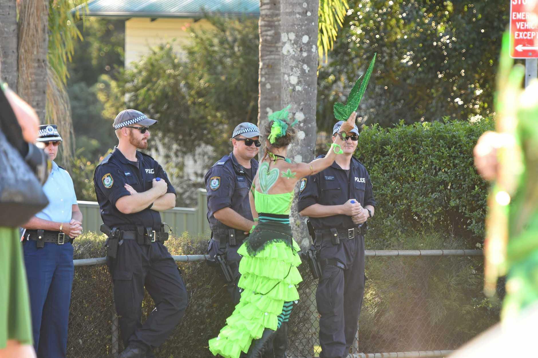 ON WATCH: Police kept a watchful eye on MardiGrass in Nimbin at the weekend.