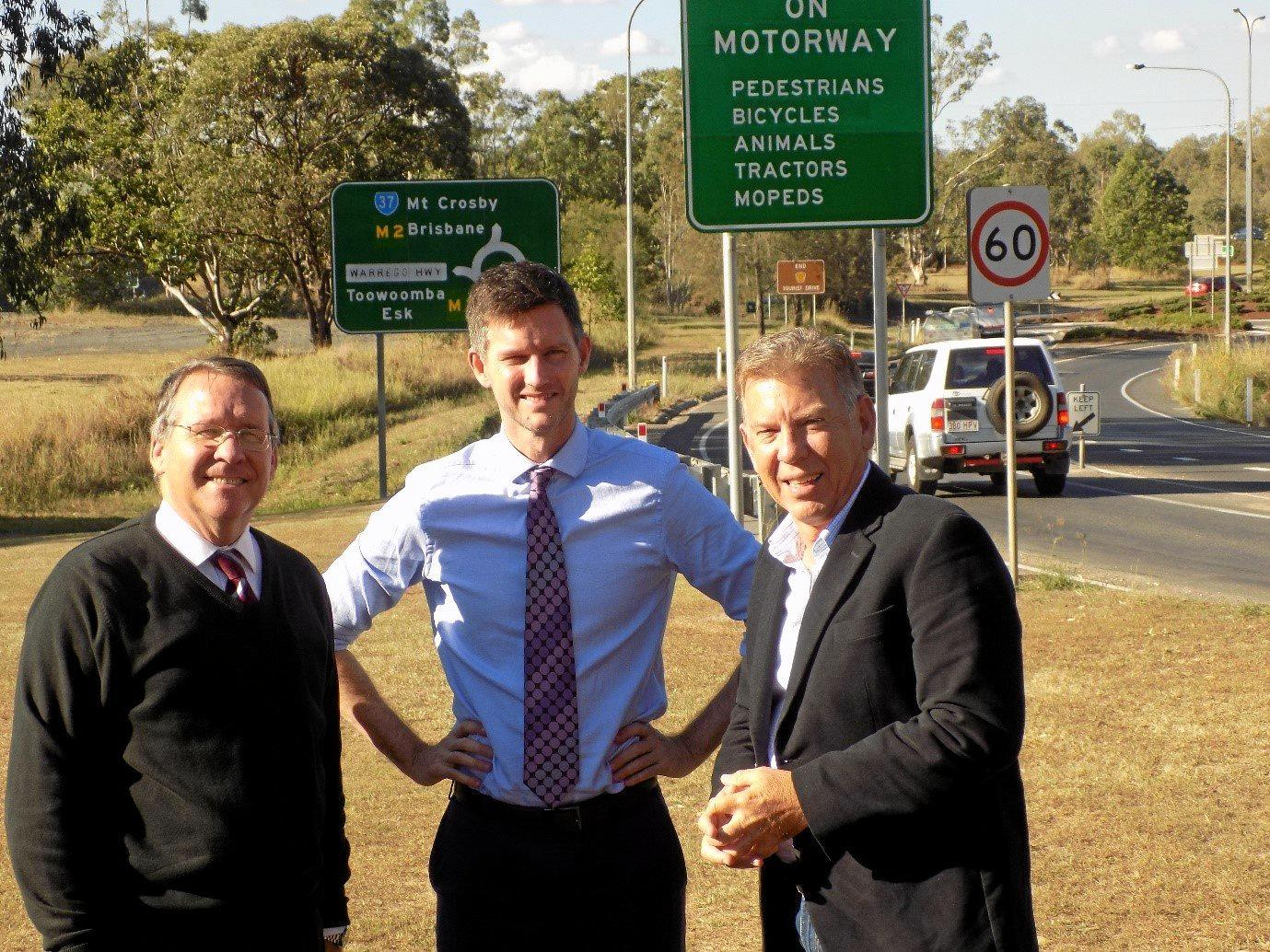 Jim Madden MP with Minister for Main Roads, Road Safety, and Ports Mark Bailey MP and Ipswich City Councillor Cr Wayne Wendt (Division 5) at the Mt Crosby Road/Warrego Highway Interchange.