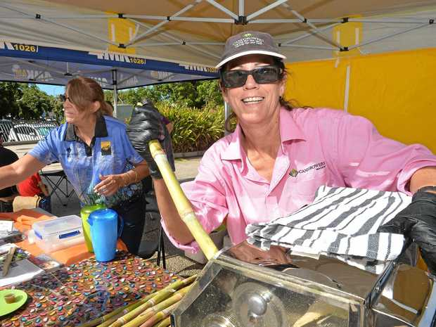 ENERGY: Rita Scotton and Sonia Ball from Canegrowers promoting sugar cane at the Greater Whitsunday Farmers Market.