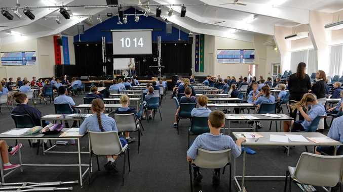 READY TO GO: Mackay Christian College students prepare to take their NAPLAN tests.