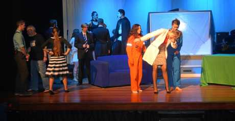 The cast of James Nash State High School's paradoxical get back in action on stage.