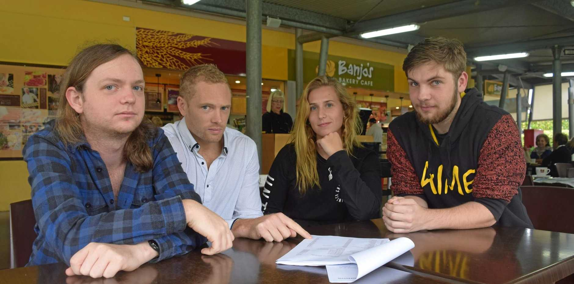 OWED: (L-R) Jessie Bishop, Mitchell Bird, Emily Hough and Nyles Reynders are owed almost $100,000 between them after the collapse of Cantro Pty Ltd, the company behind Woombye and Palmwoods IGA supermarkets.