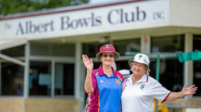 REASON FOR CELEBRATION: Krys Gerrick and Pauline Tarrant in front of the Albert Park Bowls Club.