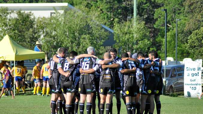 Magpies take a moment together before the kick-off of the first grade clash during NRRRL Round 5 action between Lower Clarence Magpies and Mullumbimby Giants at Yamba League Field.