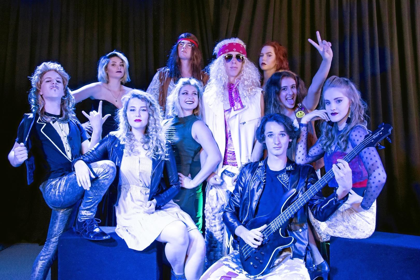 The cast of Good Shepherd Lutheran College's Rock of Ages production.