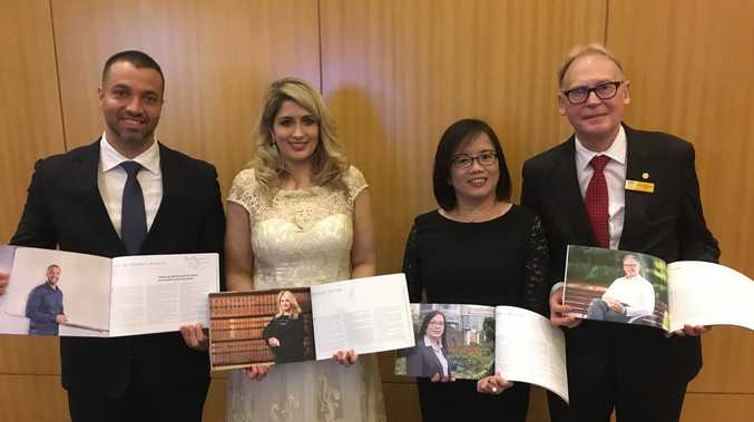 A number of USQ alumni who featured in the commemorative book attended the gala dinner event in Kuala Lumpur, including (from left) Caio de Moraes Basilio, Georgia Soutar, Yoke Ling Koh and John Dornbusch.
