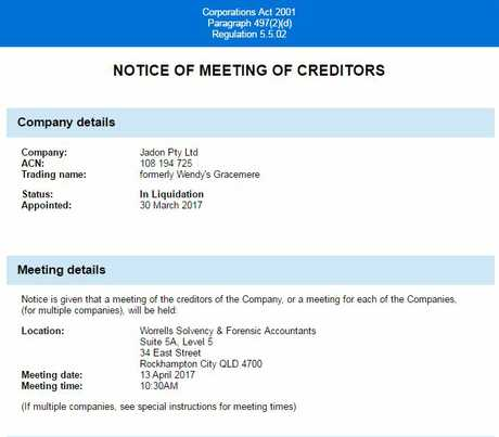 FINANCIAL WOES: An ASIC notice reveals that Jason Pty Ltd, formerly Wendy's Gracemere, has gone into liquidation.