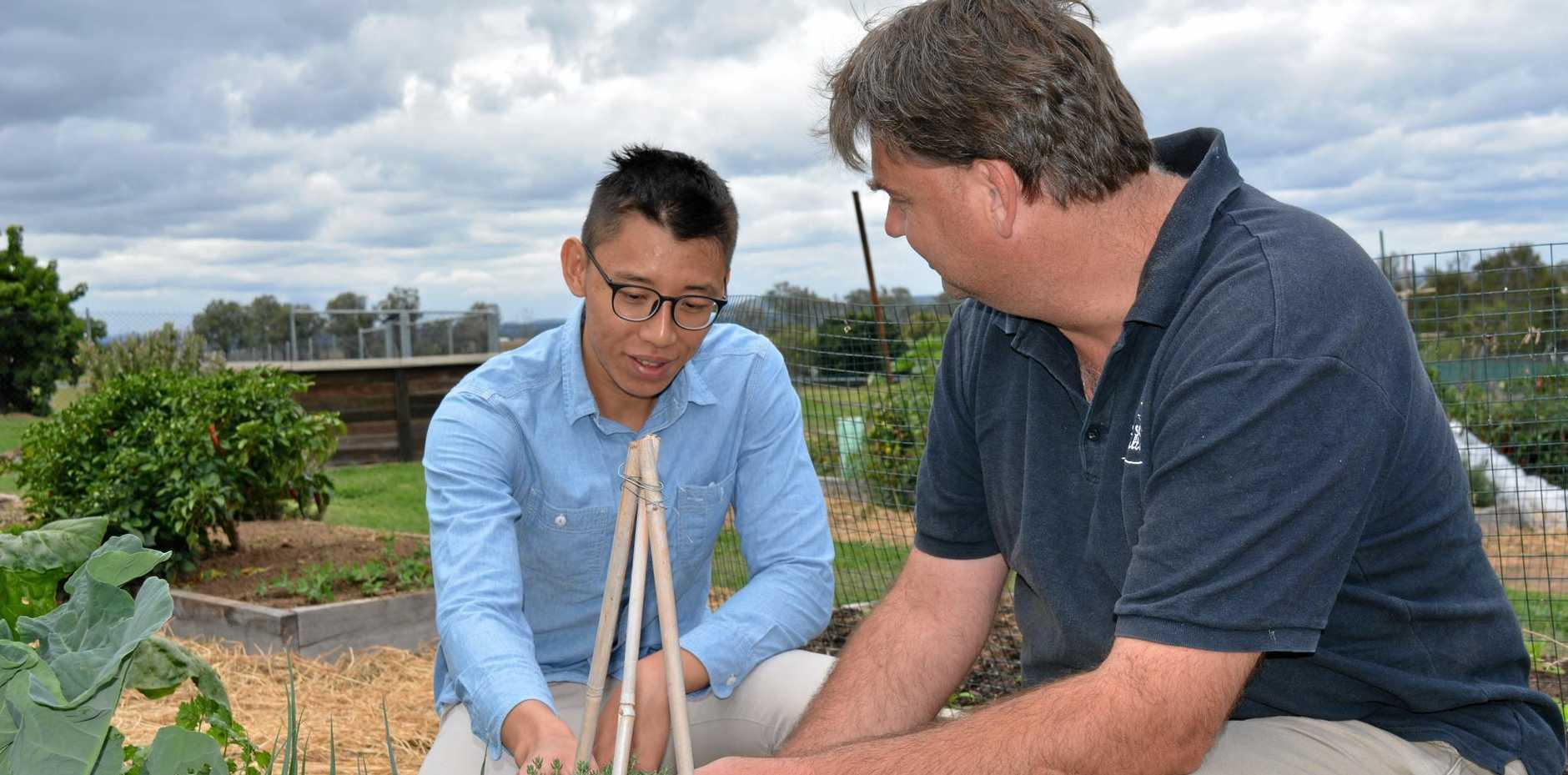 GREEN THUMBS: Brendan Fu with Michael Wardle in the UQ Gatton Community Garden.