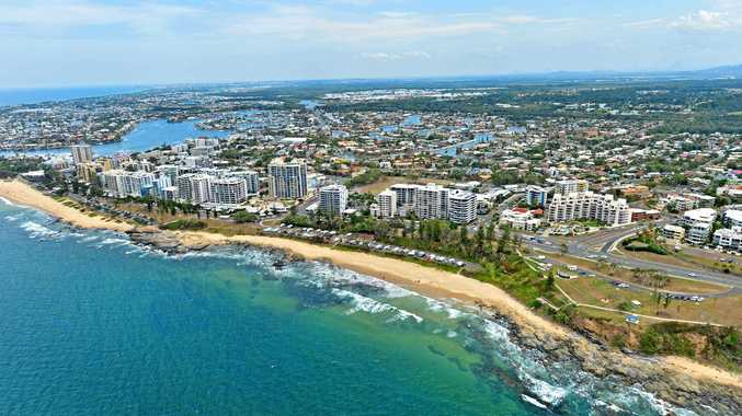Aerial photographs of the Sunshine Coast. Alexandra Parade. Mooloolaba Caravan Park. Mooloolaba Beach. Alexandra Headland.
