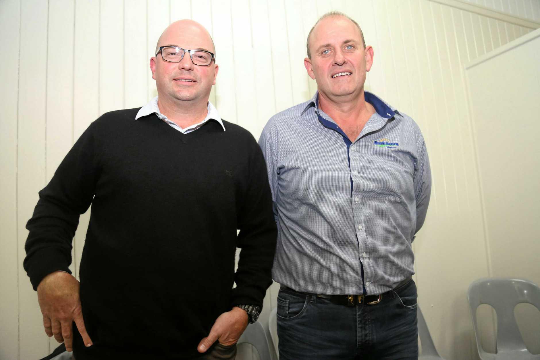 SunPork CEO Rob van Barneveld and Swickers Manager of General Operations Linchon Hawks at the KCCI May Meeting.
