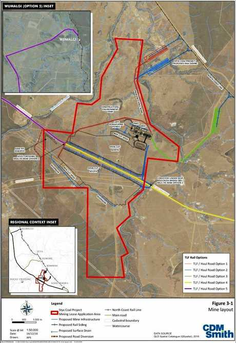 The latest concept design for the Central Queensland Coal Project near Ogmore, about 130km north of Rockhampton.