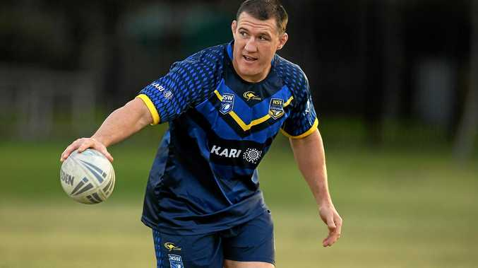 City Origin player Paul Gallen takes part in a training run.