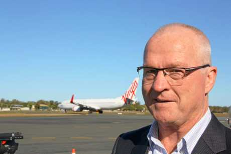 Sunshine Coast Mayor Mark Jamieson at the Sunshine Coast Airport.Photo Erle Levey / Sunshine Coast Daily