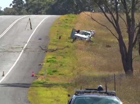 The scene of the fatal crash on the Newell Highway, outside of Dubbo. Picture: Top Notch Video.